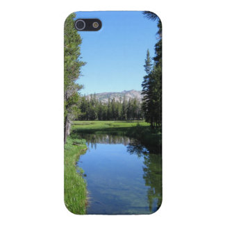 Tree-Lined River Meadow with Mountain Vista Photo iPhone 5/5S Covers