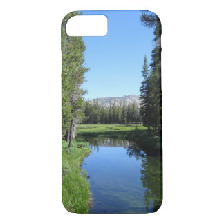 Tree-Lined River Meadow with Mountain Vista Photo iPhone 7 Case