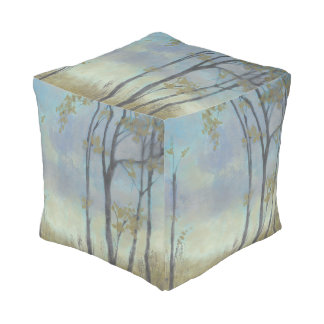 Tree-Lined Wheat Grass I Cube Pouf