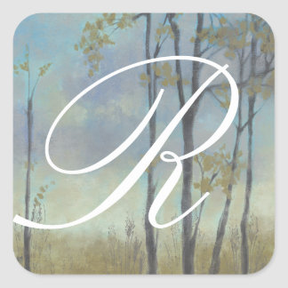 Tree-Lined Wheat Grass I Square Sticker