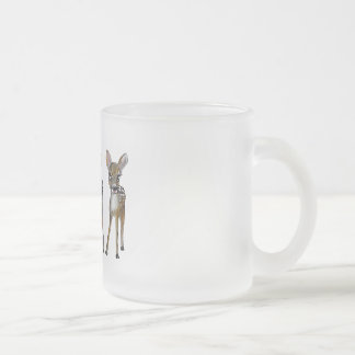 tree little deers frosted glass coffee mug