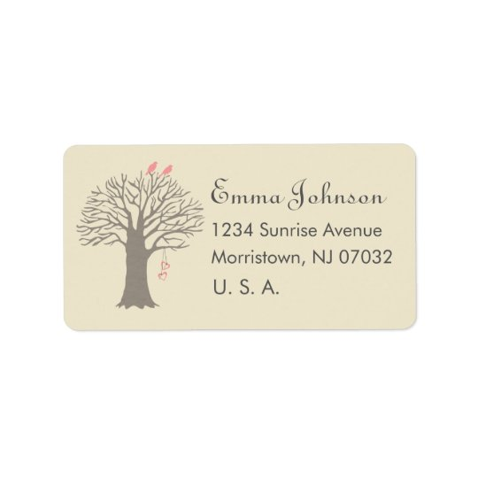 Tree Love Birds Custom Address Label