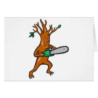 Tree Man Arborist With Chainsaw Card