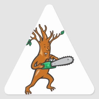 Tree Man Arborist With Chainsaw Triangle Sticker