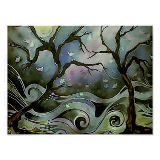 tree night scene full moon silk art painting poster