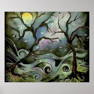 tree night scene full moon silk art painting posters