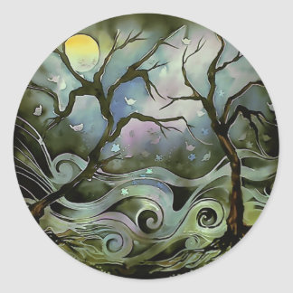 tree night scene full moon silk art painting round sticker