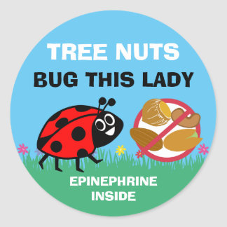 Tree Nut Allergy Alert Epinephrine Ladybug Round Sticker