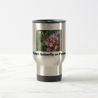 Tree Nymph Butterfly on Pentas Travel Mug