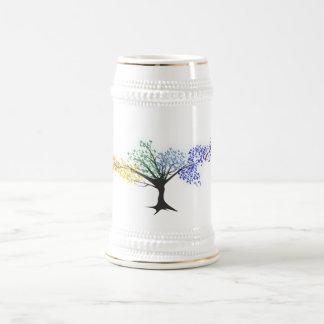 Tree of colorful butterflies beer stein