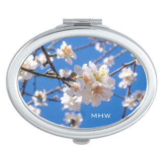 Tree of Flowers custom monogram pocket mirror Makeup Mirrors
