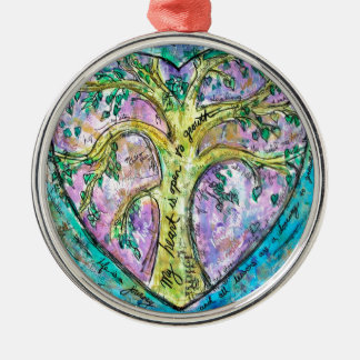 Tree of growth metal ornament