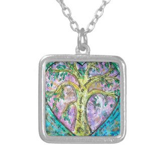 Tree of growth silver plated necklace