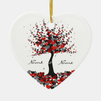 Tree of Hearts - Black and Red Wedding Ornament