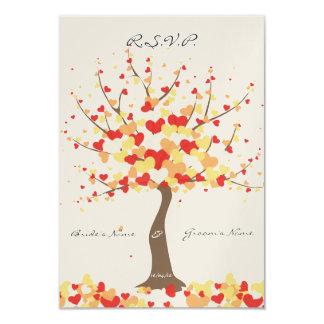 "Tree Of Hearts - Fall/Winter Wedding - RSVP 3.5"" X 5"" Invitation Card"