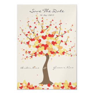 """Tree Of Hearts Fall/Winter Wedding Save The Date 3.5"""" X 5"""" Invitation Card"""