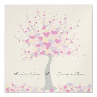 Tree Of Hearts - Spring/Summer Wedding Invitation 13 Cm X 13 Cm Square Invitation Card