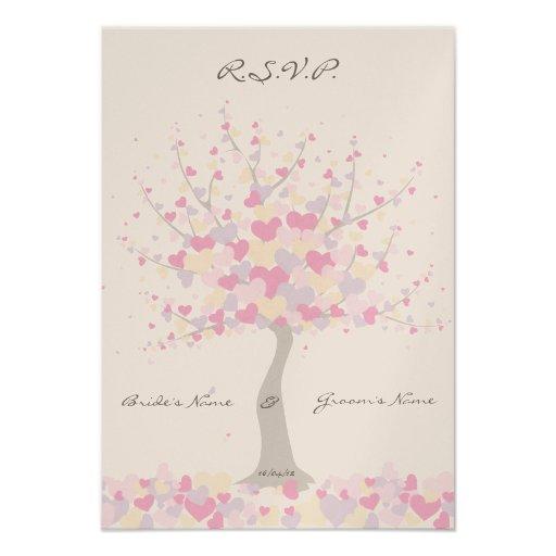 Tree Of Hearts - Spring/Summer Wedding - RSVP Personalised Invitation