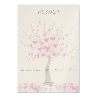 "Tree Of Hearts - Spring/Summer Wedding - RSVP 3.5"" X 5"" Invitation Card"