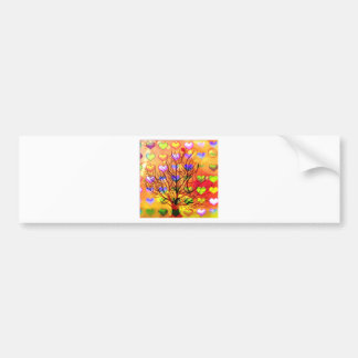 Tree of joy with multiple hearth bumper sticker