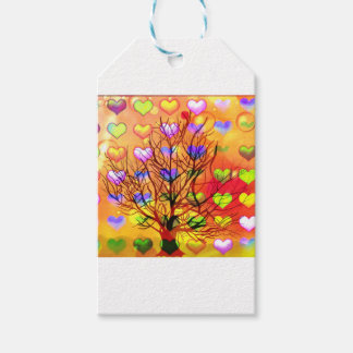 Tree of joy with multiple hearth gift tags