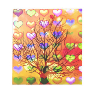 Tree of joy with multiple hearth notepad