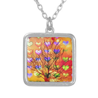 Tree of joy with multiple hearth silver plated necklace