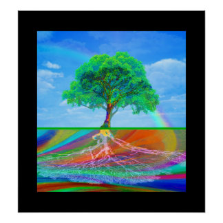Tree of Life and Rainbow Poster