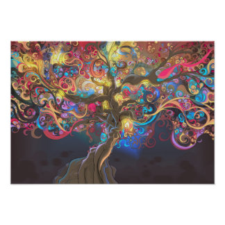 Tree of Life at Night Tapestry Poster