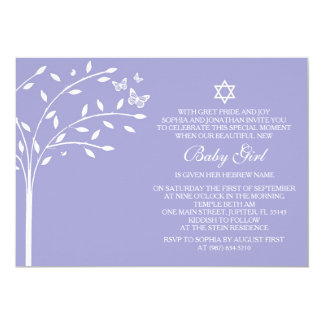 Tree of Life Baby Girl Naming Day Invite, Purple Card