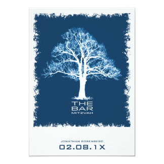 Tree of Life Bar Mitzvah Invitation, Navy Card