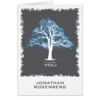 Tree of Life Bar Mitzvah Thank You Card, Blue Gray Card