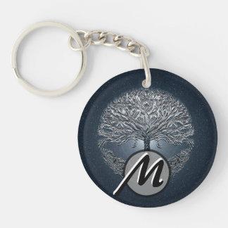 Tree of Life Blue Sky Peaceful Night Double-Sided Round Acrylic Keychain