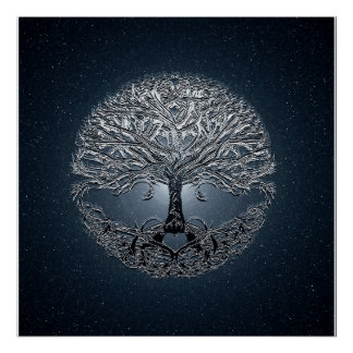 Tree of Life Blue Sky Peaceful Night Poster