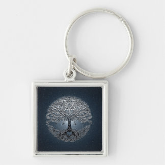 Tree of Life Blue Sky Peaceful Night Silver-Colored Square Keychain