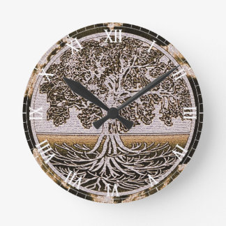 Tree of Life Circle of Life in Brown Round Clock