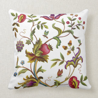 Tree of Life Faux Jacobean Embroidery Pillow