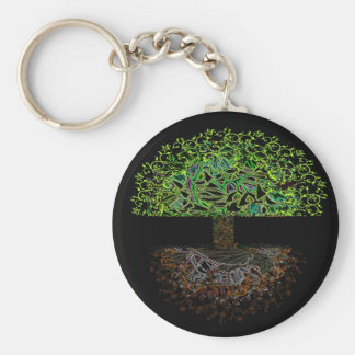 Tree of Life Glow Basic Round Button Keychain