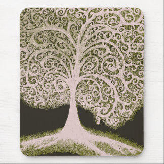 Tree of Life , grn&wht Mouse Pad