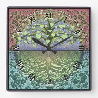 Tree of Life Heart by Amelia Carrie Square Wall Clock