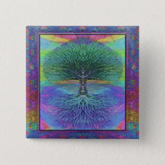 Tree of Life Hope and Peace 2 Inch Square Button