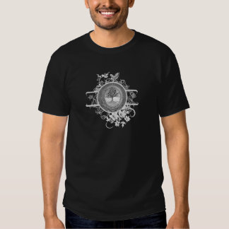 Tree of Life in Black and White with Flowers T Shirt