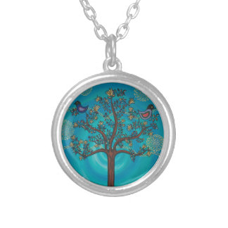 """Tree of Life in Blue""  by CatherineHayesArt Silver Plated Necklace"