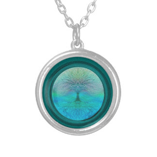Tree of Life in Green Colors Silver Plated Necklace