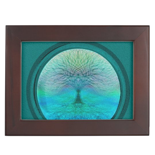 Tree of Life in Green Colours Keepsake Boxes