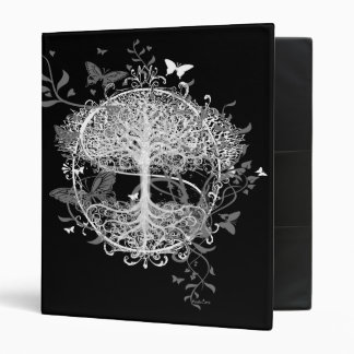 Tree of Life in White with Butterflies Vinyl Binder