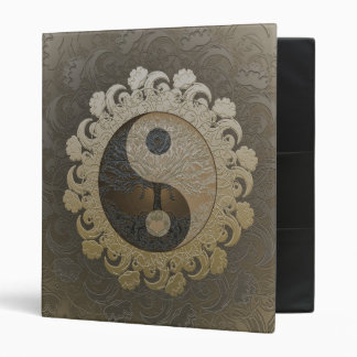 Tree of Life in Yin Yang in Tan Colors 3 Ring Binder