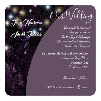 Tree of Life Jewish night lights wedding Card