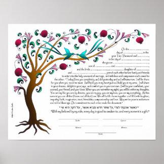 Tree of Life Ketubah, blank Poster