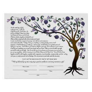 Tree of Life ketubah with a Hebrew quote (mauve L) Poster
